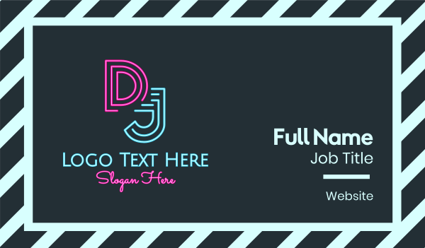 turntable - Neon DJ Business card horizontal design