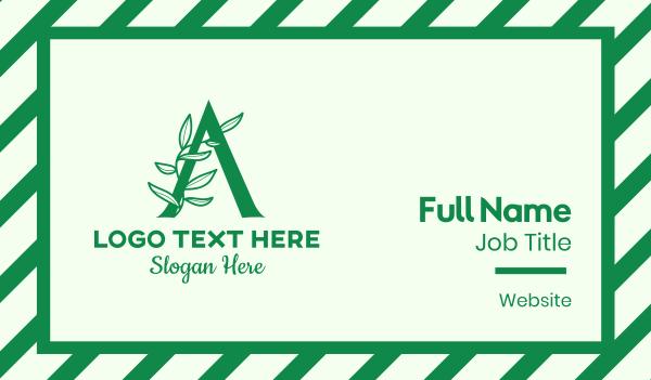 vines - Green Plant Letter A Business card horizontal design