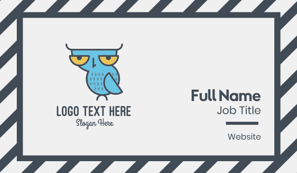 bird observatory - Sleepy Owl Business card horizontal design