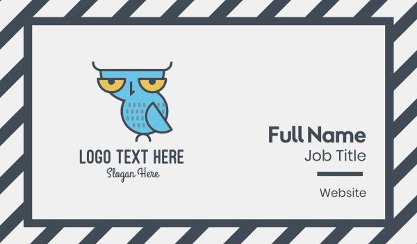 blue owl - Sleepy Owl Business card horizontal design