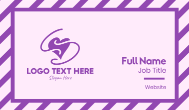 Purple Heart Squiggle Business Card