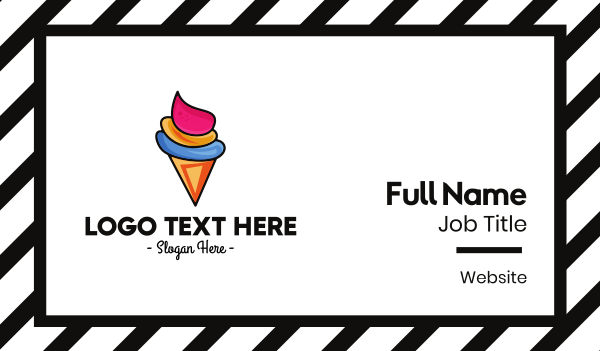 vendor - Colorful Ice Cream Cone Business card horizontal design