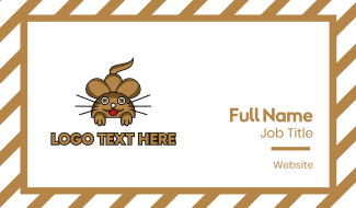 Brown Mouse Outline Business Card