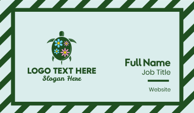 Floral Green Turtle Business Card