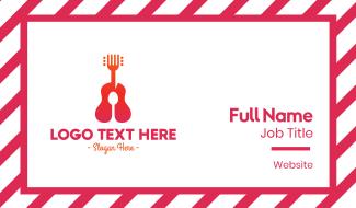 Acoustic Guitar Music Restaurant Food Business Card