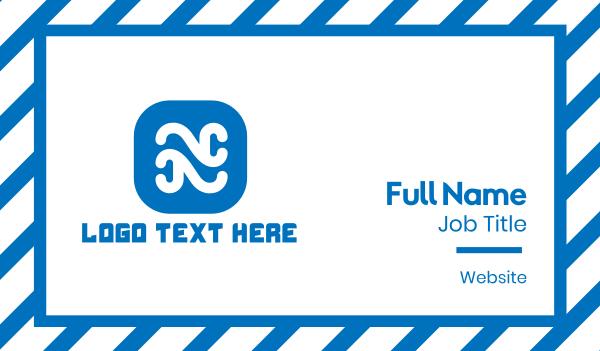online shop - Curvy Letter N App Business card horizontal design