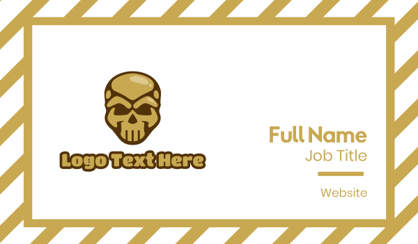 undead - Gold Cyborg Skull Business card horizontal design