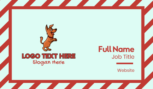 puppy school - Happy Dog Cartoon Business card horizontal design