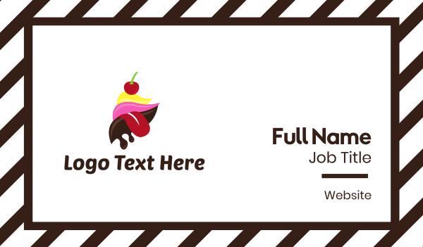 ice cream - Ice Cream Tongue Business card horizontal design