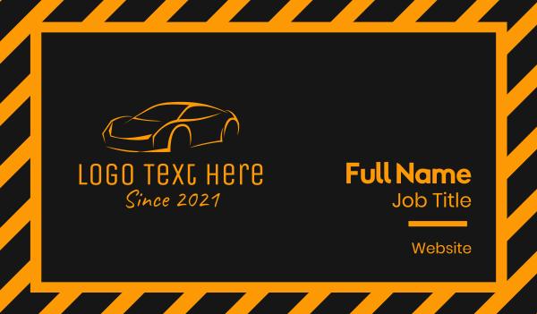 supercar - Orange Luxury Car  Business card horizontal design