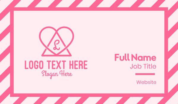 Pink Triangular Heart Business Card