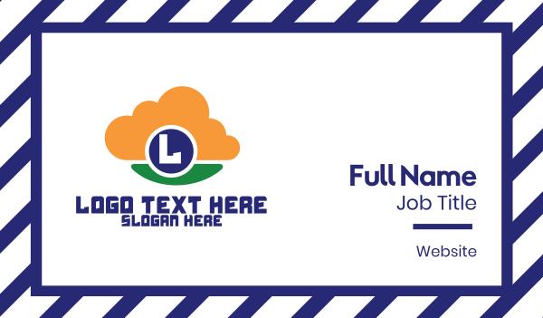 forecast - High Tech Cloud Lettermark Business card horizontal design