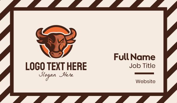 playoffs - Bull Mascot Business card horizontal design