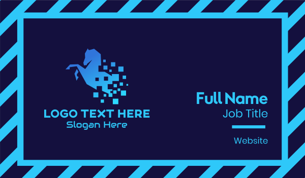 horse mane - Blue Digital Horse Business card horizontal design