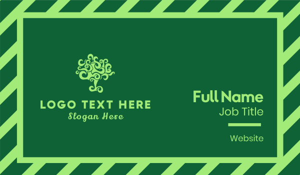 green branch - Curly Tree Business card horizontal design