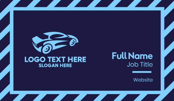 car  wash - Blue Speed Car Racing Business card horizontal design