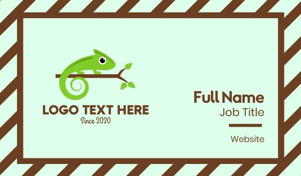 wild animal - Green Chameleon Branch Business card horizontal design