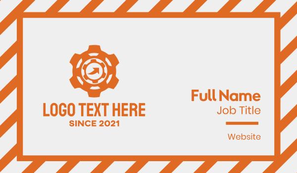 motor - Orange Machine Gear Business card horizontal design