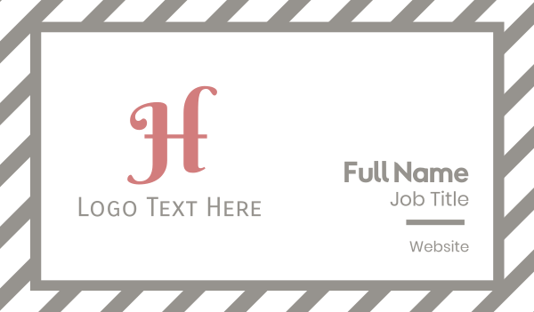 pink girl - Pink Cursive Letter H Business card horizontal design