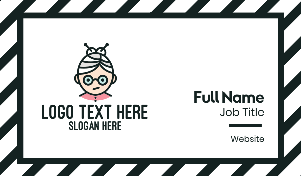 senior citizen - Cute Granny Mascot Business card horizontal design