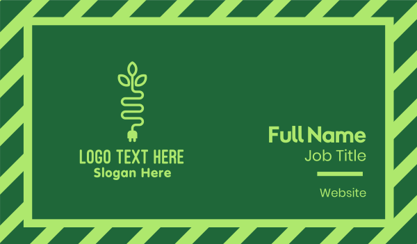 electrician - Green Eco Plug Business card horizontal design