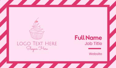 Pink Cherry Cupcake Business Card