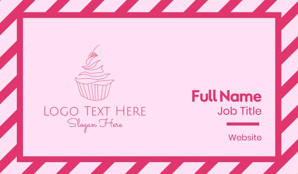 macaron - Pink Cherry Cupcake Business card horizontal design