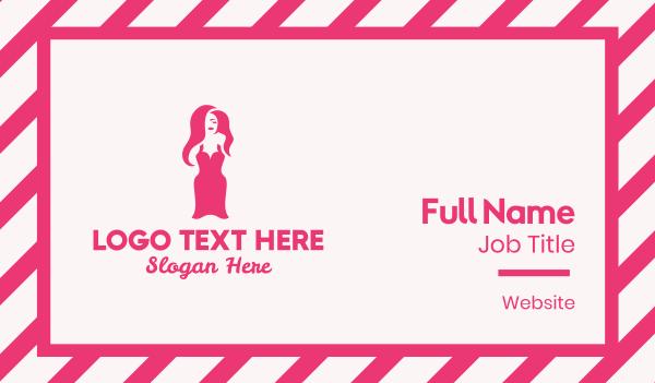womenswear - Sexy Pink Women Dress Business card horizontal design