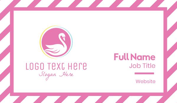 pink bird - Pink Swan Business card horizontal design