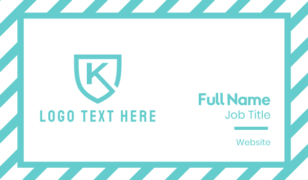 text - Turquoise Shield Letter K Business card horizontal design