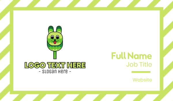 treat - Green Rabbit Popsicle Business card horizontal design