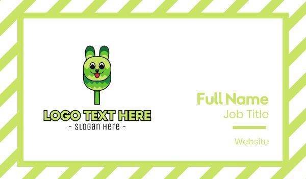 hare - Green Rabbit Popsicle Business card horizontal design