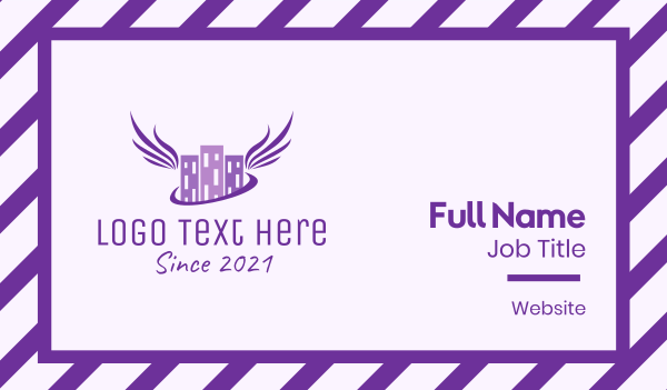city - Purple Angel Building Contractor  Business card horizontal design
