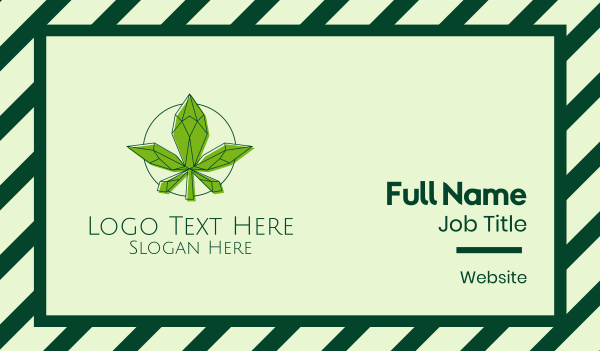drugs - Minimalist Marijuana Leaf  Business card horizontal design