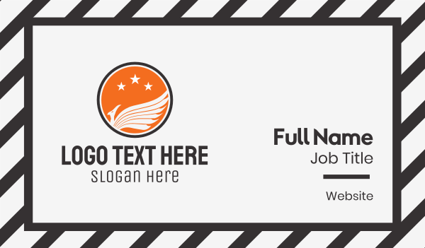 aircraft - White Bird & Orange Circle Business card horizontal design