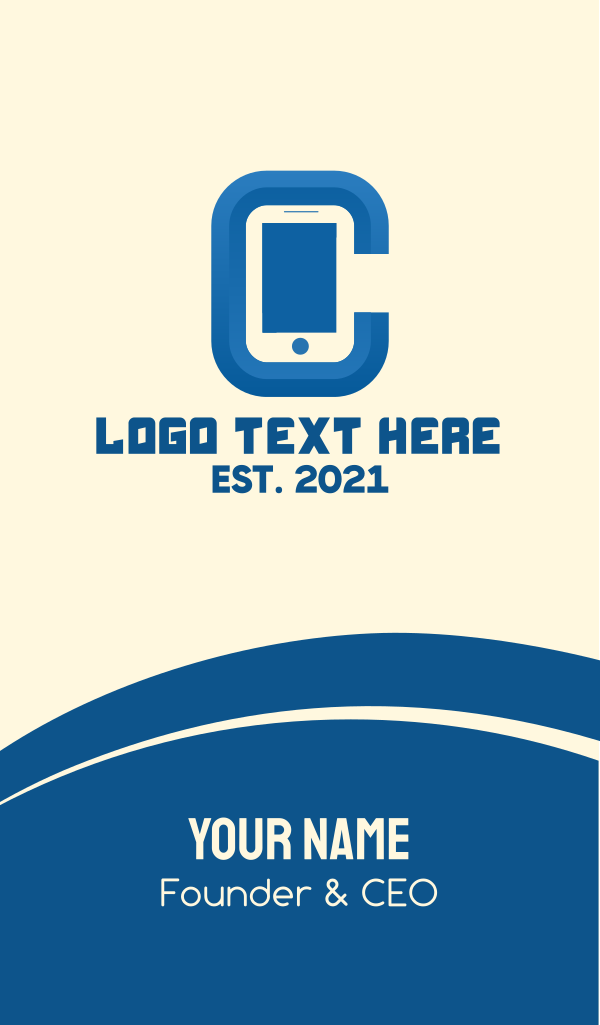 Mobile Phone Letter C Business Card