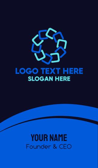 Blue Geometric Flower Business Card