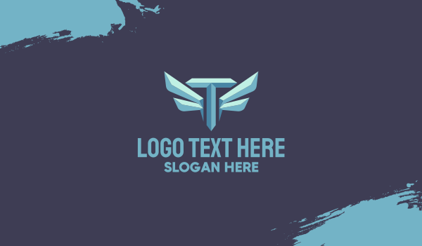 twitch streamer - Metallic Wing Letter T Business card horizontal design