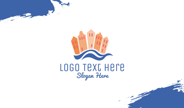 cartoon - Beach Town Business card horizontal design