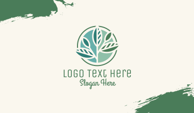 Leafy Branch Circle Business Card