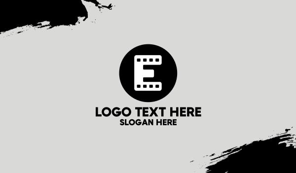 theater - Film Strip Letter E Business card horizontal design