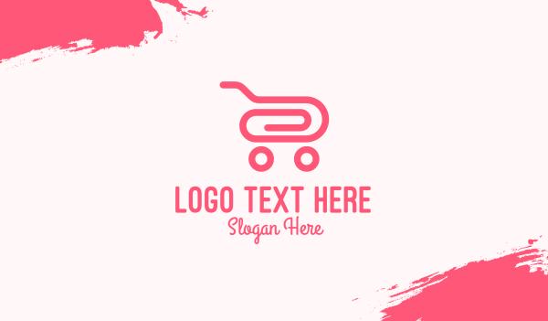 minimart - Pink Paper Clip Cart Business card horizontal design