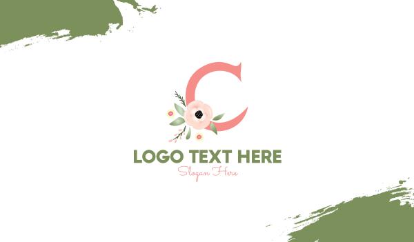 creations - Floral Letter C Business card horizontal design