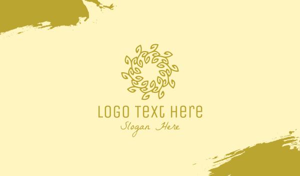 soul - Gold Organic Wreath Business card horizontal design