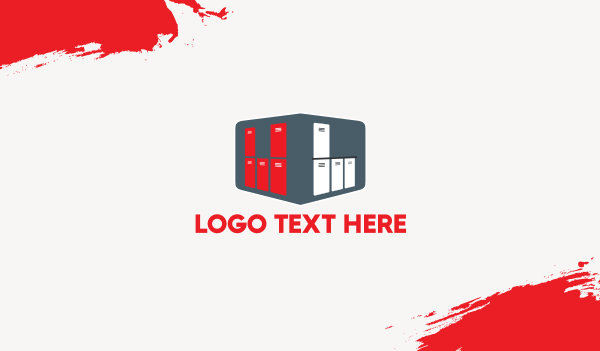 red box - Red & White Lockers Business card horizontal design