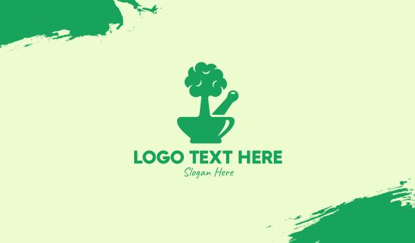 traditional medicine - Green Tree Mortar & Pestle Business card horizontal design
