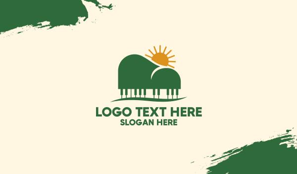 sunny - Piano Mountain View Business card horizontal design