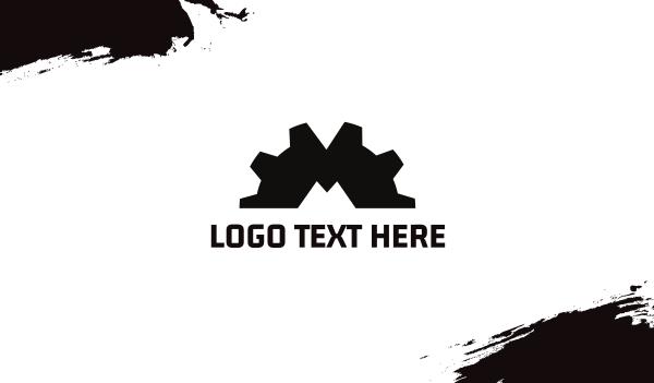 letter m - Gear Letter M Business card horizontal design
