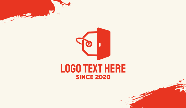 coupon - Orange Door Tag Business card horizontal design