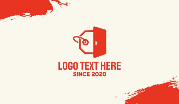 mart - Orange Door Tag Business card horizontal design